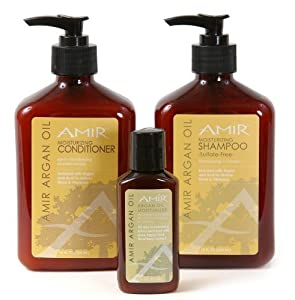 Amir Argan Oil Shampoo and Conditioner Duo (12 oz) with a FREE Travel Moisturizer (2 oz) Set by Amir