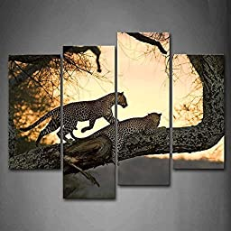 Canval prit painting Animal Wall Art Two Leopard in Big Tree 4 Pieces Picture on Canvas