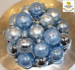 Tbs 733822 christbaumkugeln eisblau set 24 teilig amazon - Christbaumkugeln eisblau ...