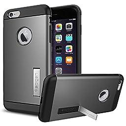 iPhone 6 Plus Case, Spigen® [Slim Armor] KICK-STAND [Gunmetal] Slim Fit Dual Layer Advanced Shock Absorption Protective Kick-Stand Case for iPhone 6 Plus (2014) - Gunmetal (SGP10905)