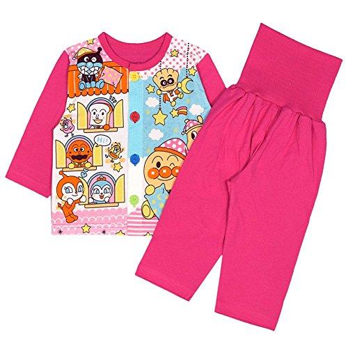アスナロ(パジャマ・ルームウェア) パジャマ ベビー アンパンマン 腹巻き付 長袖 寝間着 お着替え練習100 ピンク