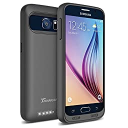 Galaxy S6 Battery Case - Trianium Atomic S Portable Charger Galaxy S6 Charging Case [Black/Black] [Lifetime Warranty]-3500mAh External Rechargeable Protective Power Pack Juice Bank for Galaxy S6(2015)