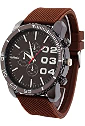 Outop 1pcs Brown Casual Mens Womens 3 Eyes Big Dial Quartz Wrist Watches