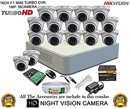 Hikvision DS-7116HGHI-F1 Mini 16CH Dvr, 16(DS-2CE56COT-IR) Dome Camera (with Mouse, 2TB HDD, Bnc&Dc Connectors,Power Supply,Cable)