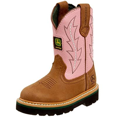 John Deere Girls Toddler Kids Pink Cowboy Boots 2.5