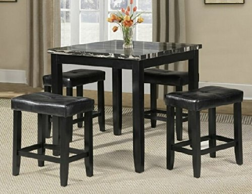 Popular  pc Ainsley II square faux marble black finish wood counter height dining table set