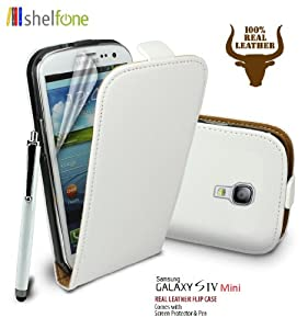 WHITE Premium Stylish Protective 100% REAL GENUINE COW LEATHER FLIP CASE POUCH COVER FOR SAMSUNG GALAXY S4 MINI I9190 + Includes STYLUS PEN + SCREEN PROTECTOR