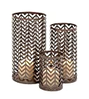 Deco 79 Chevron Metal Candle Holder, 12 by 10 by 6-Inch, Bronze, Set of 3