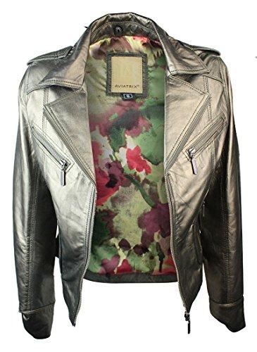 Avitrix Ladies Women Short Leather Jacket Slim Fit metalic Real Leather Jacket gold large
