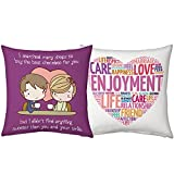 Valentine Gifts for Boyfriend Girlfriend Purple You are Sweet & White Love Description set of 2 Love Printed Filled Cushion Gift for Him Her Wife Husband Fiance Spouse Home Birthday Anniversary