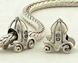 925 Sterling Silver European Style Antique Silver Disney Pumpkin Coach Charms/beads for Pandora, Biagi, Chamilia, Troll and More Bracelets