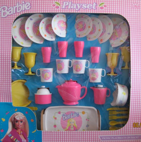 Barbie Child Size Picnic & Dinner Wear Playset 46 Pieces W Dishes, Tea Set & 4 Placemats (1994 Mattel/Chilton)