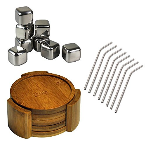 Healthpro Bar Ultimate Drinker Package, Includes 8 Titanium Super Strong Lightweight Drinking Straws, 8 Tuscani Stainless Steel Reusable Ice Cubes With Tongs And 5 Piece Organic Moso Bamboo Heavy Duty Round Coaster Set