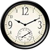 Springfield Decorative Outdoor Clock with Thermometer, 14-Inch
