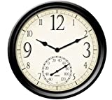 Springfield 91907 14-Inch Decorative Outdoor Clock with Thermometer