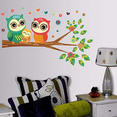 Decals Design 'Big Eyed Cute Owl Family' Wall Sticker (PVC Vinyl, 60 cm x 45 cm)
