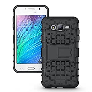 Noise Rugged Dual Layer Kickstand Hybrid Warrior Case Back Cover for Samsung Galaxy J7 - Black
