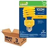 100W Equivalent 23W Enersaver T2 CFL Bug Light Bulb, E26 Base, Yellow, 3 Pack, Globe Electric 84392