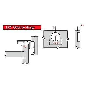 AmazonBasics AB-4012 Hinges, 1/2 Overlay, Nickel Plated (Color: Nickel Plated, Tamaño: 1/2 Overlay)