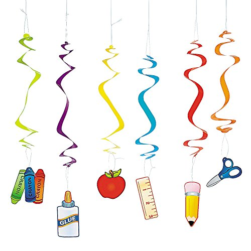 SCHOOL SUPPLIES DANGLING SWIRLS (1 DOZEN) - BULK - 1