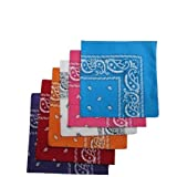 6 Color Pack Paisley Bandana Scarf, Head Wraps RD/OR/PR/WH/HPK/RURQ