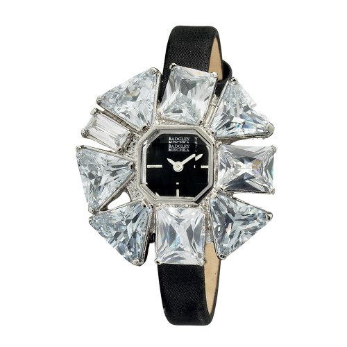 Badgley Mischka Women's BA1133BKBK Silver-Tone CZ Flower Shaped Bezel Black Strap Watch