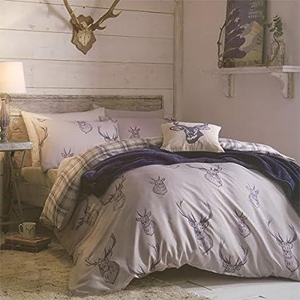 catherine lansfield parure parure de lit double en coton avec housse housse de couette et. Black Bedroom Furniture Sets. Home Design Ideas