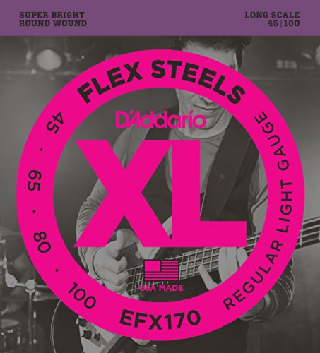 D'Addario Efx170 Flexsteels Bass Guitar Strings, Light, 45-100, Long Scale