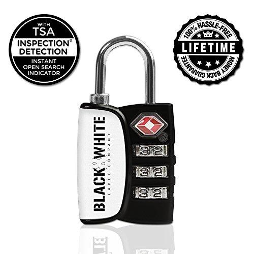 TSA Lock 3 Digit Combination Travel Luggage Lock TSA Approved Locks (White/Black - Single Pack) (Dial Padlock compare prices)