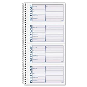 Adams Spiral Petty Cash Book, 2-Part, Carbonless, 4 Messages per Page, 200 Sets per Book (SC1156)