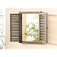 Shuttered Mirror with Frame - Rustic Mirror with Wooden Frame and Shutter Design Product SKU: HD223944