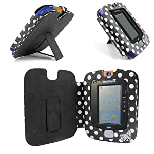 Gadget Giant ® VTech InnoTab 3 Black & White Polka Dots Leather Wallet Case Cover Stand Protector - Cute Fun Polka Dot Dots Design