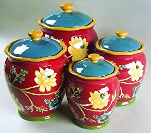 Field Flowers Canister Set - 4 pieces by April Cornell & Certified International
