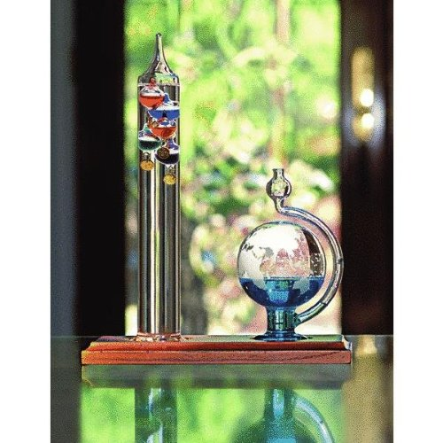 Chaney Instrument Galileo Thermometer with Glass Globe Barometer