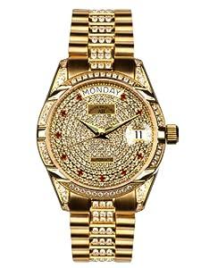 André Belfort 410147 - Reloj analógico de mujer automático con correa de acero inoxidable dorada - sumergible a 50 metros