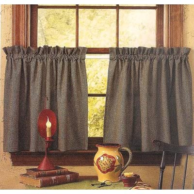 Kitchen plaid maroon red olive green check window curtain tiers