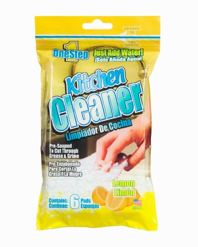 1 Step Kitchen Cleaner 6ct Lemon - Just add water - pre-soaped pads Pack of 6