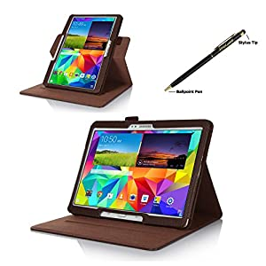 ProCase Samsung Galaxy Tab S 10.5 Dual View Case (horizontal and vertical display) - Rotating Cover Case with Stand exclusive for 2014 Samsung Galaxy Tab S (10.5 inch, SM-T800) Tablet (Brown) from ProCase