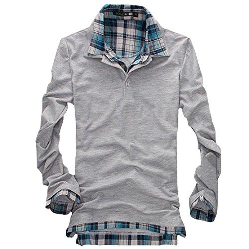 (ライセンス)RAiseNsE  紳士カジュアルレイヤード風長袖ポロシャツ 重ね着 チェック柄 #TP77 XL グレー