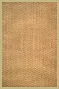 Anji Mountain Bamboo Chairmat & Rug Co. 3-Foot-by-5-Foot Seagrass Rug, Basketweave with Khaki Cotton Border