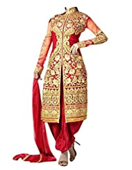 Clickedia Beautiful Red Jacket Style Heavy Embroidered Salwaar Suit