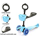 Rayhome Mini 3-IN-1 Kick Toddler Scooter with LED Flash Wheel,Razor Scooter for Child from 1-8 years old with T Bar and O bar