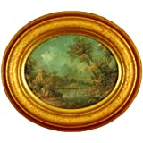 Vintage Oval Italian Oil Painting, Hand-aged Victorian Artwork