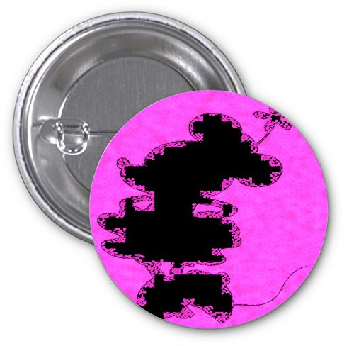 Cute Mouse Silhouette Pink Design Print Image 3 Inch Button Flare by Trendy Accessories (Cartoon Charachters)