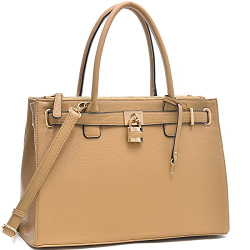 MyLux Designer Office Briefcase Handbag 0326 Tan