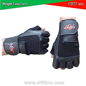 4Fit Leather Weight Lifting Gloves Long Wrist Wrap Padded Strength Training Gym S-XXL