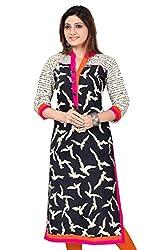 Clickedia Women's Cotton Kurti (kirti black kurti_Free Size_Black White)