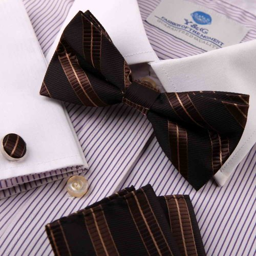 Brown bow tie for men father day gift chocolate saddle brown Stripes Silk Pre-tied Bow tie, Cufflinks,Handkerchiefs Present Box Set BY Epoint EBC1029