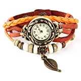 Femme Mode Watch Retro Montre Bracelet PU Cuir Quartz Perle Tressé Rétro Bijoux Décor Wrist Watch Orange