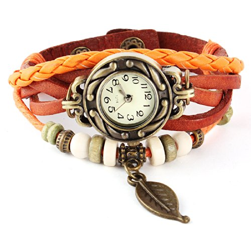Femme Mode Watch Retro Montre Bracelet PU Cuir Quartz Perle Tressé Rétro Bijoux Décor Wrist Watch Orange